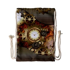 Steampunk, Wonderful Steampunk Design With Clocks And Gears In Golden Desing Drawstring Bag (small)