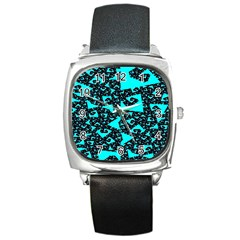 Teal on Black Funky Fractal Square Metal Watches