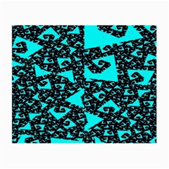 Teal on Black Funky Fractal Small Glasses Cloth