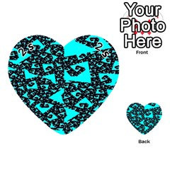 Teal On Black Funky Fractal Playing Cards 54 (heart)