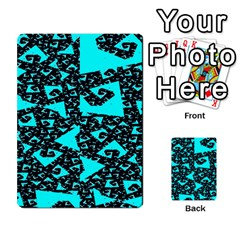 Teal on Black Funky Fractal Multi-purpose Cards (Rectangle)