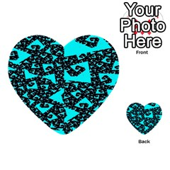 Teal on Black Funky Fractal Multi-purpose Cards (Heart)