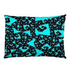 Teal On Black Funky Fractal Pillow Cases (two Sides)