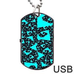 Teal on Black Funky Fractal Dog Tag USB Flash (Two Sides)
