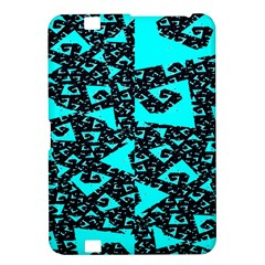 Teal on Black Funky Fractal Kindle Fire HD 8.9