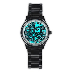 Teal on Black Funky Fractal Stainless Steel Round Watches