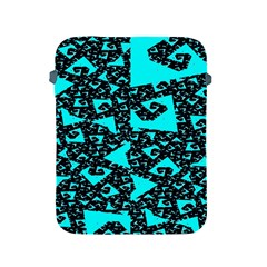 Teal on Black Funky Fractal Apple iPad 2/3/4 Protective Soft Cases