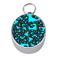 Teal on Black Funky Fractal Mini Silver Compasses