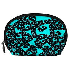 Teal on Black Funky Fractal Accessory Pouches (Large)