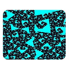 Teal on Black Funky Fractal Double Sided Flano Blanket (Large)