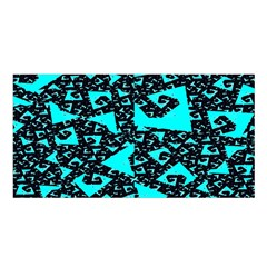 Teal on Black Funky Fractal Satin Shawl