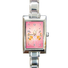 Wonderful Flowers With Butterflies And Diamond In Soft Pink Colors Rectangle Italian Charm Watches
