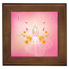 Wonderful Flowers With Butterflies And Diamond In Soft Pink Colors Framed Tiles