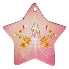 Wonderful Flowers With Butterflies And Diamond In Soft Pink Colors Ornament (Star)