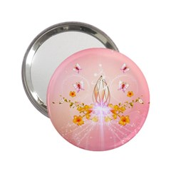 Wonderful Flowers With Butterflies And Diamond In Soft Pink Colors 2.25  Handbag Mirrors