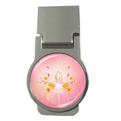 Wonderful Flowers With Butterflies And Diamond In Soft Pink Colors Money Clips (Round)