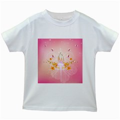 Wonderful Flowers With Butterflies And Diamond In Soft Pink Colors Kids White T-Shirts