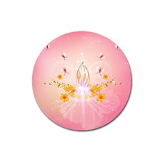 Wonderful Flowers With Butterflies And Diamond In Soft Pink Colors Magnet 3  (Round)
