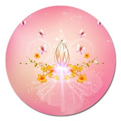 Wonderful Flowers With Butterflies And Diamond In Soft Pink Colors Magnet 5  (Round)