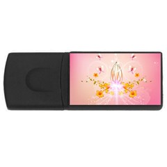 Wonderful Flowers With Butterflies And Diamond In Soft Pink Colors USB Flash Drive Rectangular (1 GB)