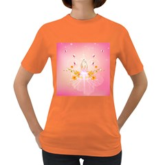 Wonderful Flowers With Butterflies And Diamond In Soft Pink Colors Women s Dark T-Shirt