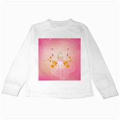 Wonderful Flowers With Butterflies And Diamond In Soft Pink Colors Kids Long Sleeve T-Shirts