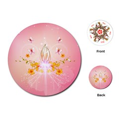 Wonderful Flowers With Butterflies And Diamond In Soft Pink Colors Playing Cards (Round)