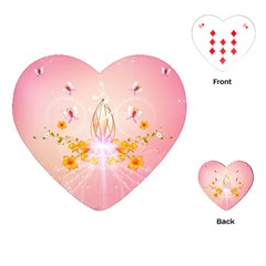 Wonderful Flowers With Butterflies And Diamond In Soft Pink Colors Playing Cards (heart)
