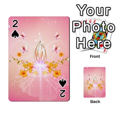 Wonderful Flowers With Butterflies And Diamond In Soft Pink Colors Playing Cards 54 Designs