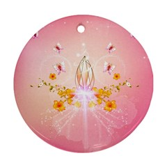 Wonderful Flowers With Butterflies And Diamond In Soft Pink Colors Round Ornament (Two Sides)