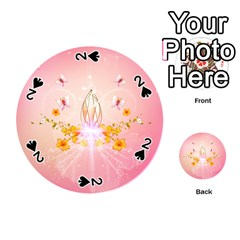Wonderful Flowers With Butterflies And Diamond In Soft Pink Colors Playing Cards 54 (Round)