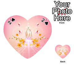 Wonderful Flowers With Butterflies And Diamond In Soft Pink Colors Playing Cards 54 (Heart)