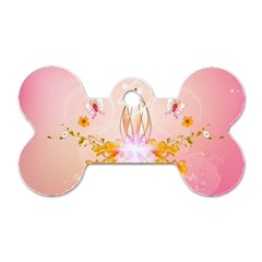 Wonderful Flowers With Butterflies And Diamond In Soft Pink Colors Dog Tag Bone (One Side)