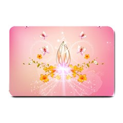 Wonderful Flowers With Butterflies And Diamond In Soft Pink Colors Small Doormat