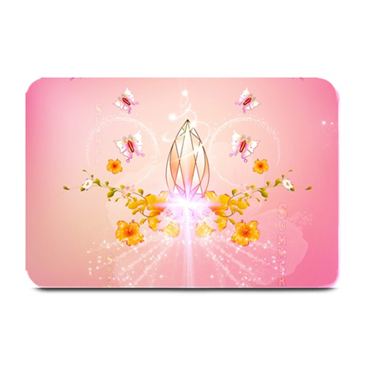 Wonderful Flowers With Butterflies And Diamond In Soft Pink Colors Plate Mats