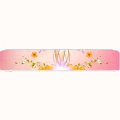 Wonderful Flowers With Butterflies And Diamond In Soft Pink Colors Small Bar Mats