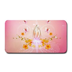 Wonderful Flowers With Butterflies And Diamond In Soft Pink Colors Medium Bar Mats