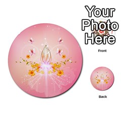 Wonderful Flowers With Butterflies And Diamond In Soft Pink Colors Multi-purpose Cards (Round)