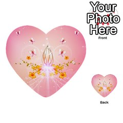 Wonderful Flowers With Butterflies And Diamond In Soft Pink Colors Multi-purpose Cards (Heart)