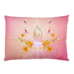 Wonderful Flowers With Butterflies And Diamond In Soft Pink Colors Pillow Cases