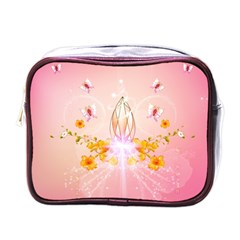 Wonderful Flowers With Butterflies And Diamond In Soft Pink Colors Mini Toiletries Bags