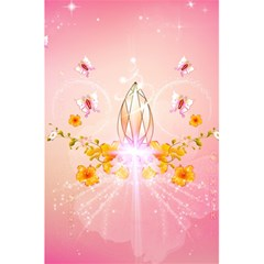 Wonderful Flowers With Butterflies And Diamond In Soft Pink Colors 5.5  x 8.5  Notebooks