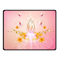 Wonderful Flowers With Butterflies And Diamond In Soft Pink Colors Fleece Blanket (small)