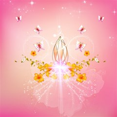 Wonderful Flowers With Butterflies And Diamond In Soft Pink Colors Magic Photo Cubes