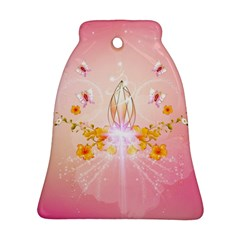 Wonderful Flowers With Butterflies And Diamond In Soft Pink Colors Ornament (Bell)
