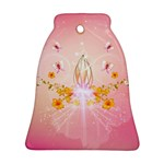 Wonderful Flowers With Butterflies And Diamond In Soft Pink Colors Ornament (Bell)  Front