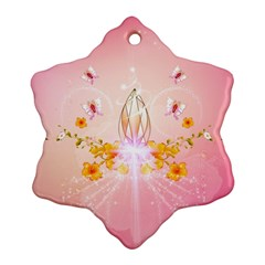 Wonderful Flowers With Butterflies And Diamond In Soft Pink Colors Snowflake Ornament (2 Side)