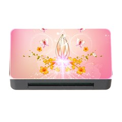 Wonderful Flowers With Butterflies And Diamond In Soft Pink Colors Memory Card Reader With Cf