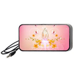 Wonderful Flowers With Butterflies And Diamond In Soft Pink Colors Portable Speaker (black)