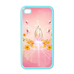 Wonderful Flowers With Butterflies And Diamond In Soft Pink Colors Apple iPhone 4 Case (Color)